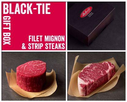Black-Tie Gift Box: 2 (8 oz.) USDA Prime Filet Mignons & (12 oz.) USDA Prime Dry-Aged Boneless Strip Steak