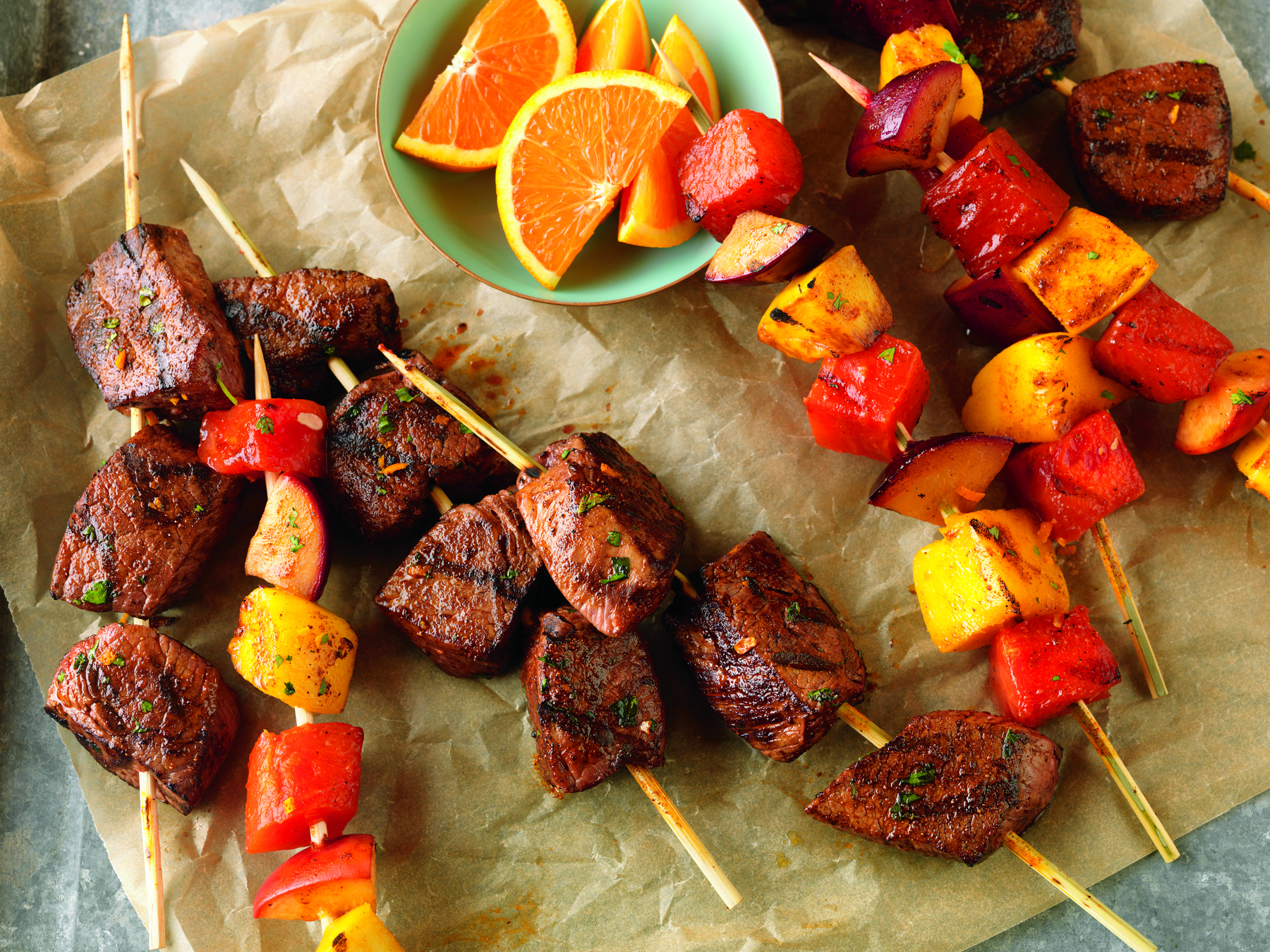 Citrus Marinate Beef & Fruit Kabobs
